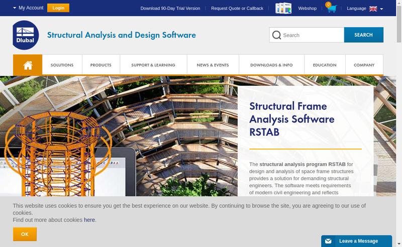 Capture d'écran du site de Dlubal Software SARL