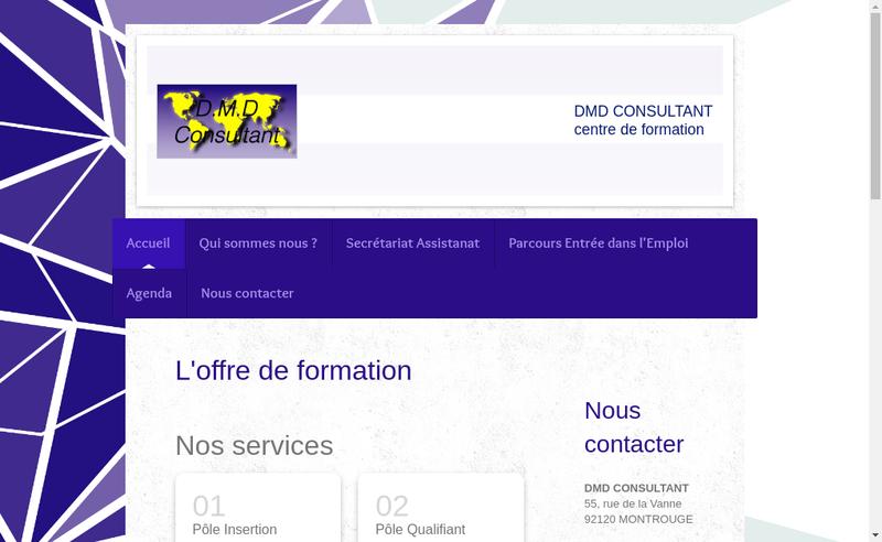 Capture d'écran du site de DMD Consultant