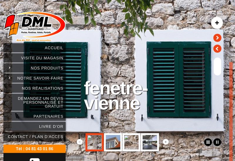 Capture d'écran du site de Dml Ouvertures