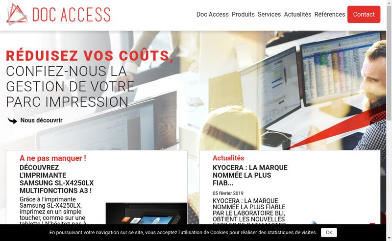 Capture d'écran du site de Doc Access
