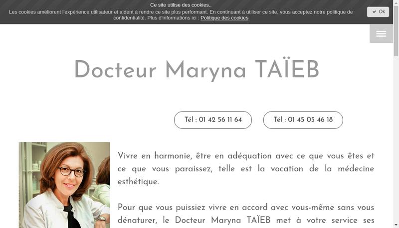 Capture d'écran du site de Maryna