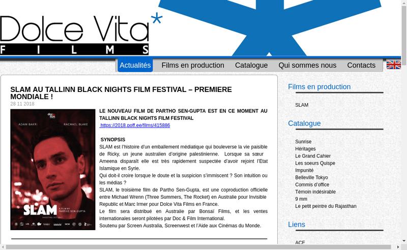 Capture d'écran du site de Dolce Vita Films
