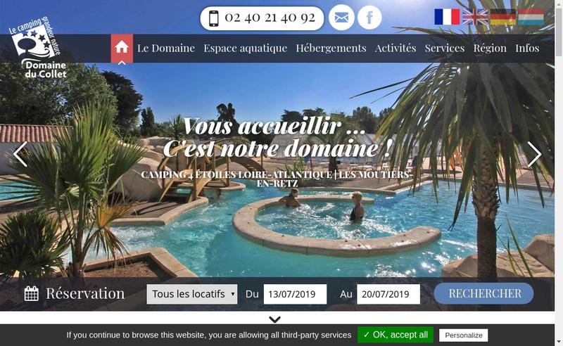 Capture d'écran du site de SARL Domaine du Collet