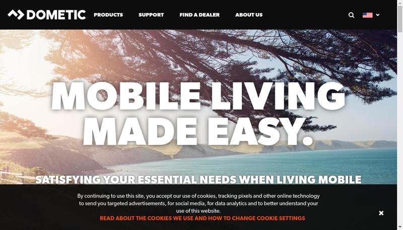 Capture d'écran du site de Dometic