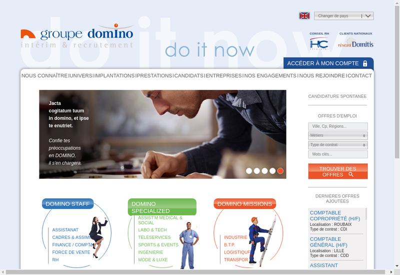 Capture d'écran du site de Domino Staff Lyon