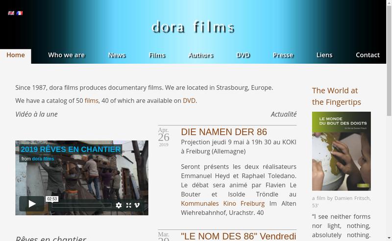 Capture d'écran du site de Dora Films SAS