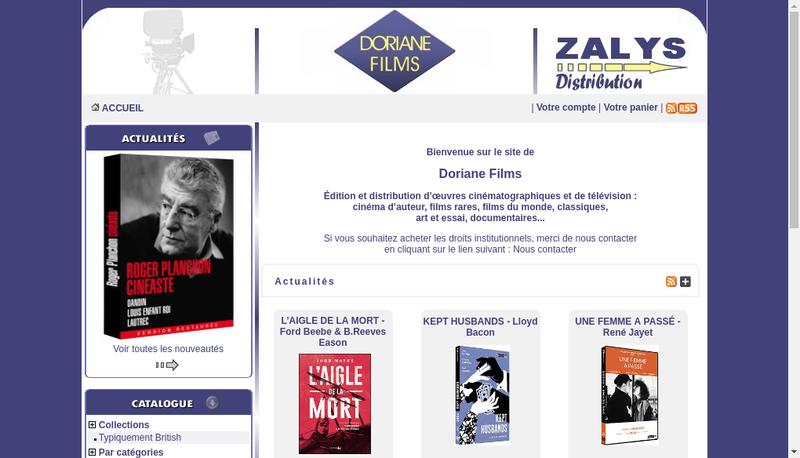Capture d'écran du site de Doriane Films