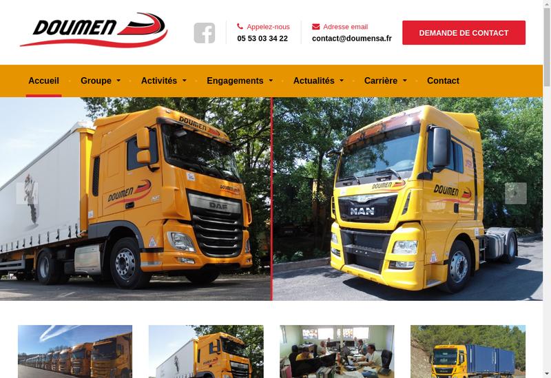 Capture d'écran du site de Doumen SA Transport