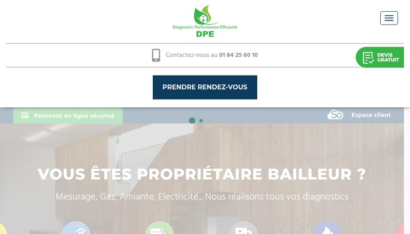 Capture d'écran du site de Diagnostic Performance Efficacite