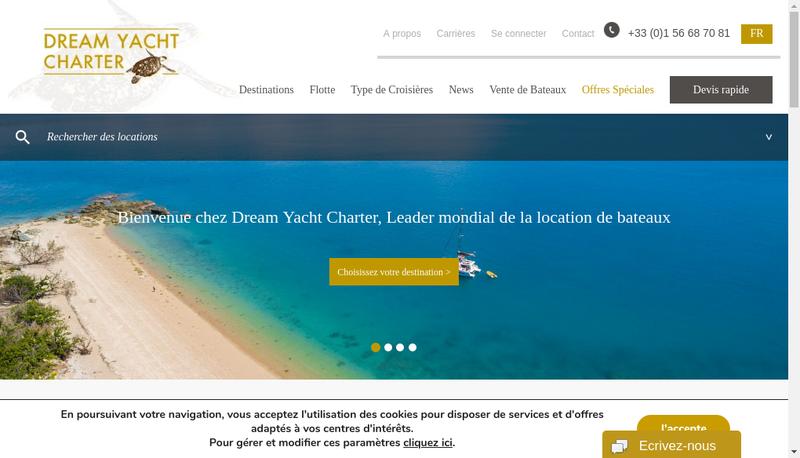 Capture d'écran du site de Dreamyacht