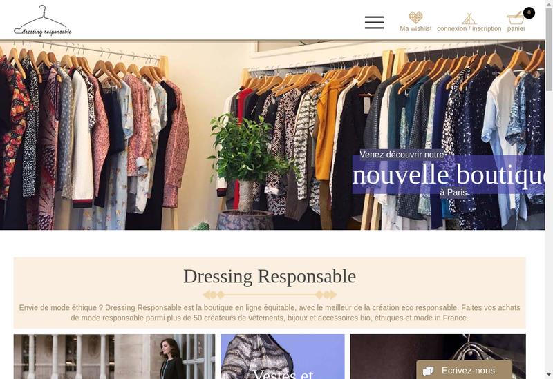 Capture d'écran du site de Dressing Responsable