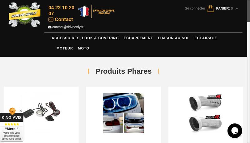 Capture d'écran du site de Drive Only