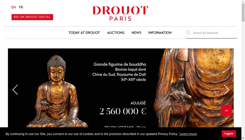 Capture d'écran du site de Drouot Patrimoine
