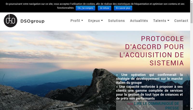 Capture d'écran du site de Dso Group