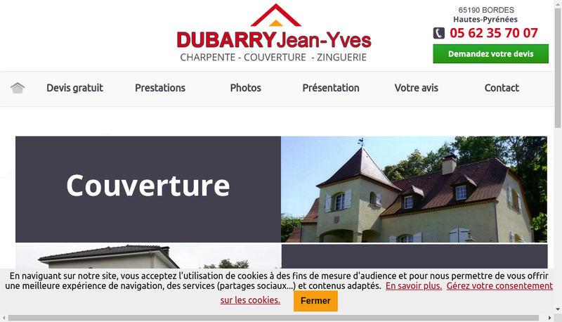 Capture d'écran du site de EURL Dubarry Jean-Yves