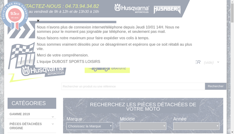 Capture d'écran du site de Dubost Sports Loisirs