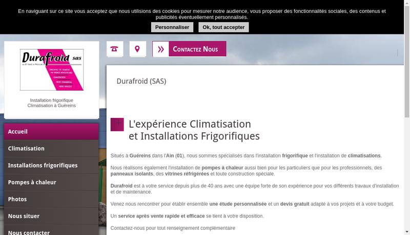 Capture d'écran du site de Durafroid Bourgogne