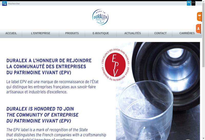 Capture d'écran du site de Duralex International