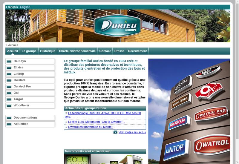 Capture d'écran du site de Groupe Durieu