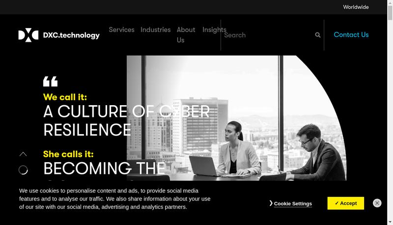 Capture d'écran du site de DXC
