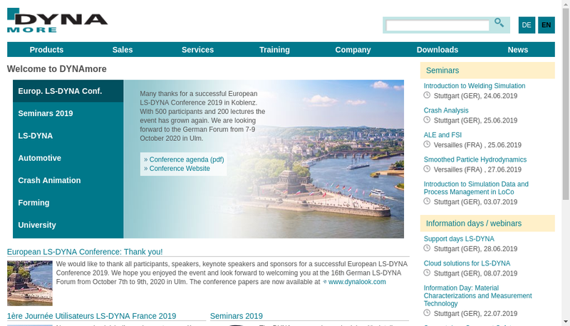 Capture d'écran du site de Dynamore France