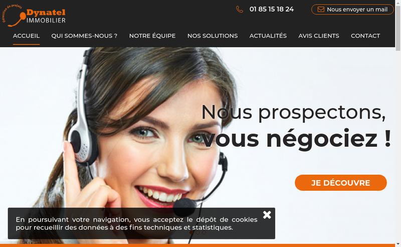 Capture d'écran du site de Dynatel