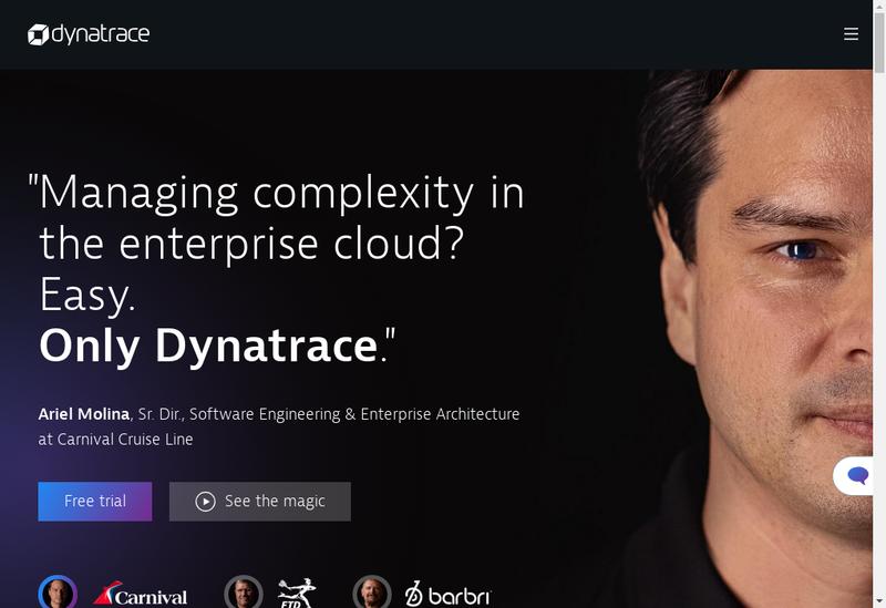 Capture d'écran du site de Dynatrace