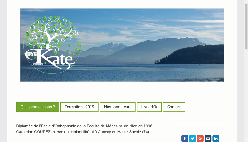 Capture d'écran du site de Dys Kate Formation