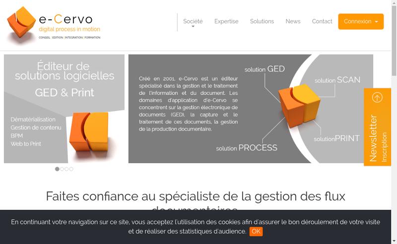 Capture d'écran du site de E Cervo SARL