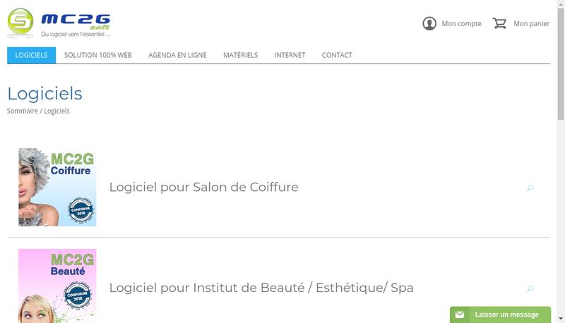 Capture d'écran du site de Mc2G Soft
