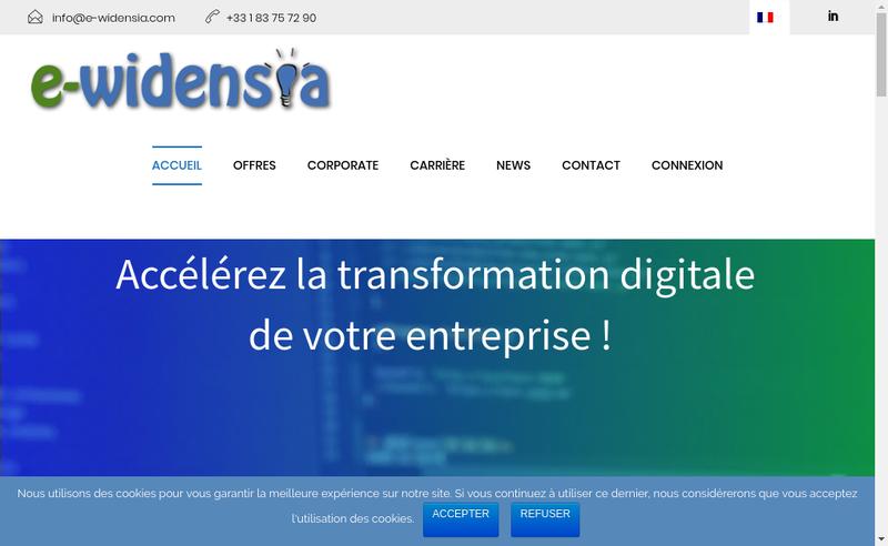 Capture d'écran du site de E-Widensia
