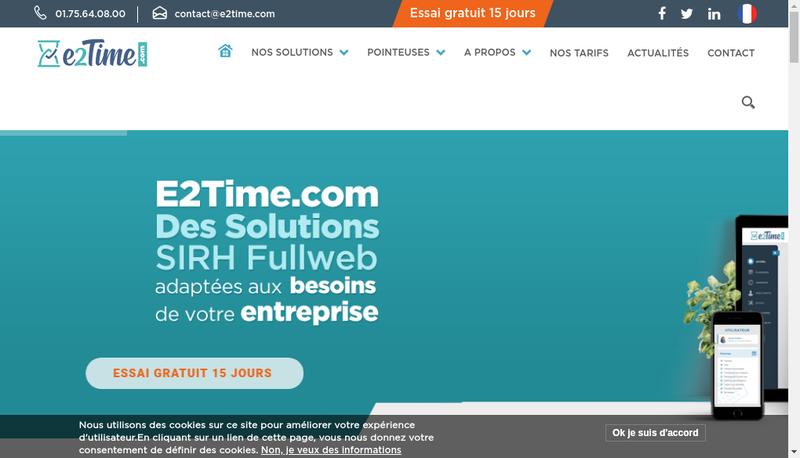 Capture d'écran du site de E2Time Com