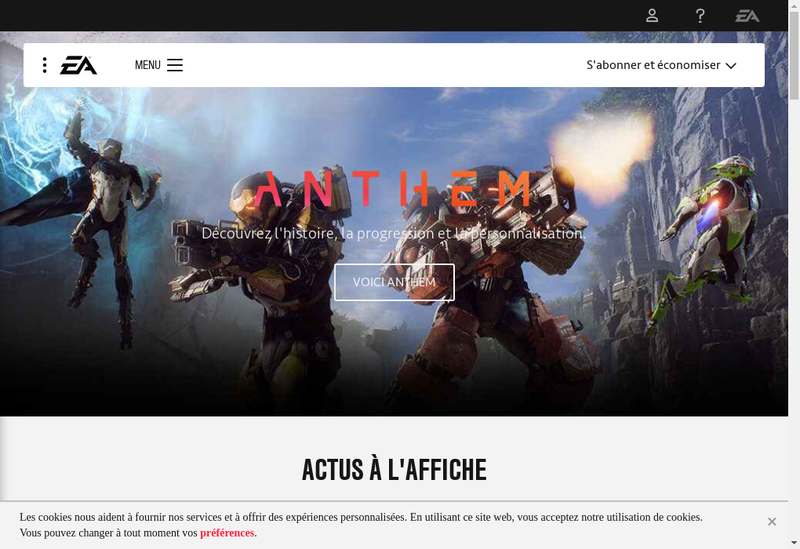 Capture d'écran du site de Electronic Arts Publishing