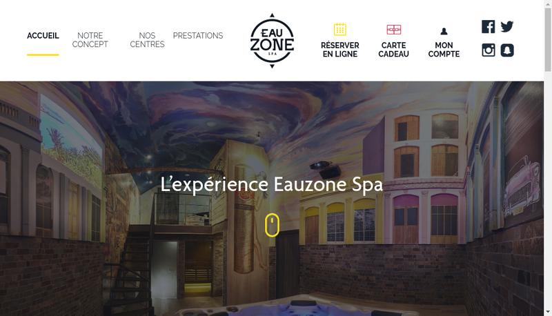 Capture d'écran du site de Eauzone Spa