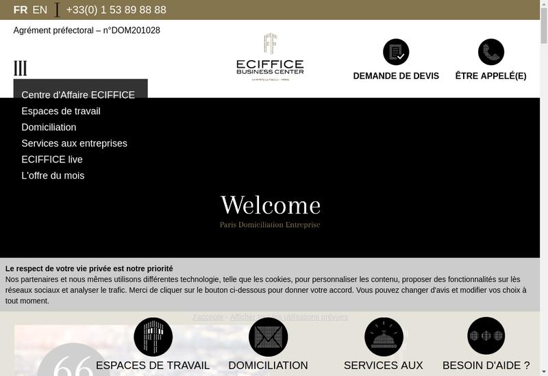 Capture d'écran du site de SARL Eciffice