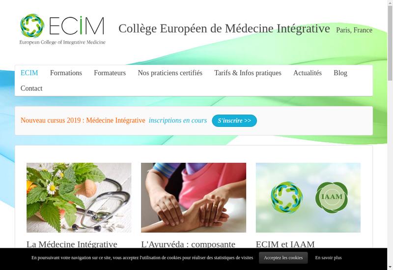 Capture d'écran du site de ECIM Eur Coll Of Integra Medicine