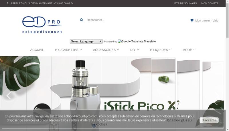 Capture d'écran du site de Eclope Discount