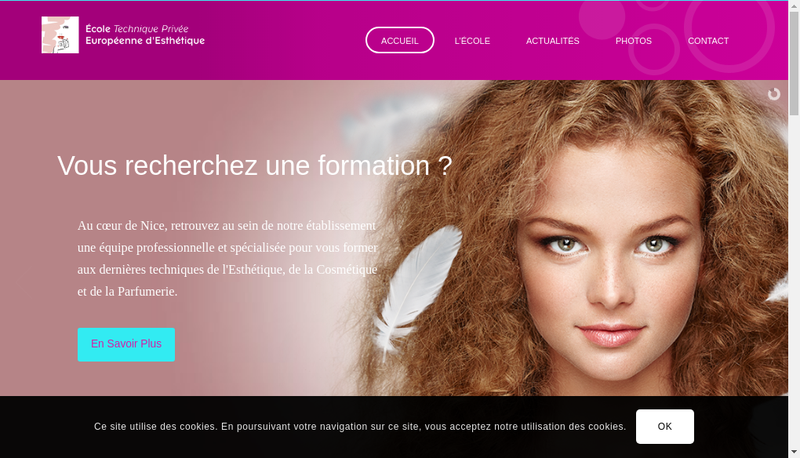 Capture d'écran du site de Ecole Tech Privee Eur d'Esthetique