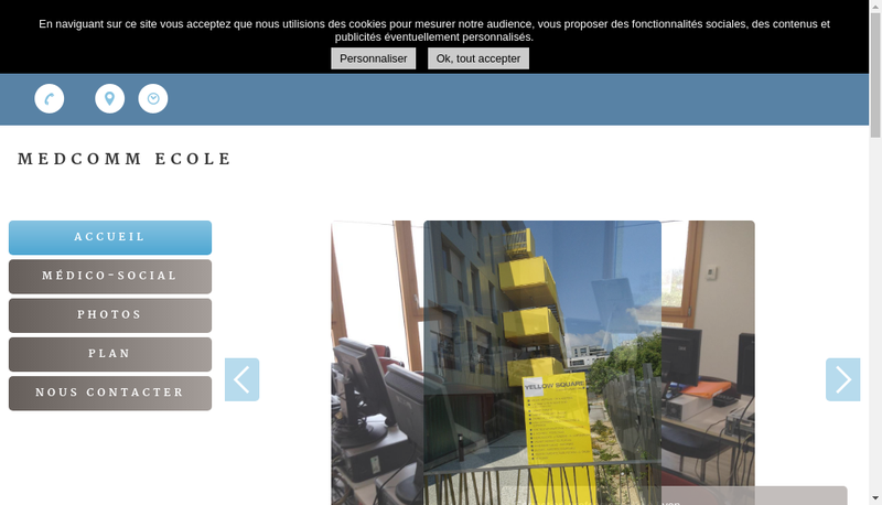 Capture d'écran du site de Ecole Medcomm
