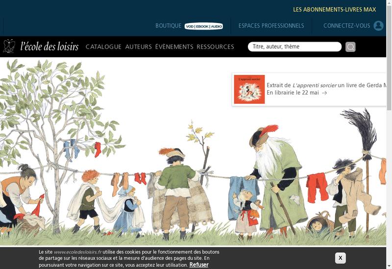 Capture d'écran du site de L'Ecole l'Ecole des Loisirs