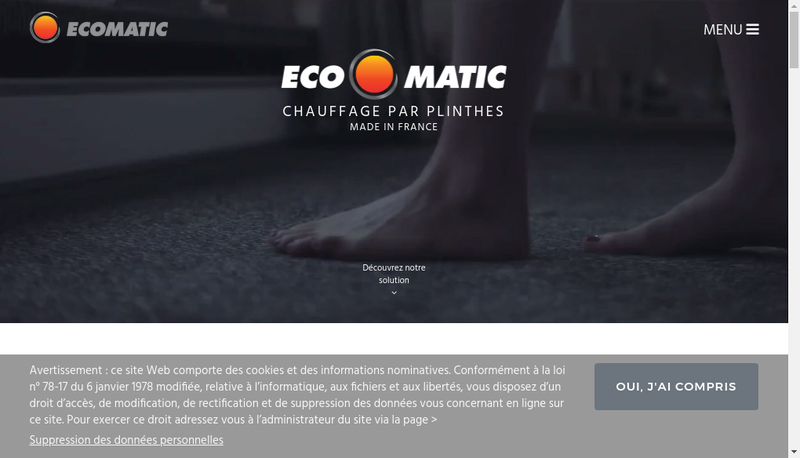 Capture d'écran du site de Eco-Matic