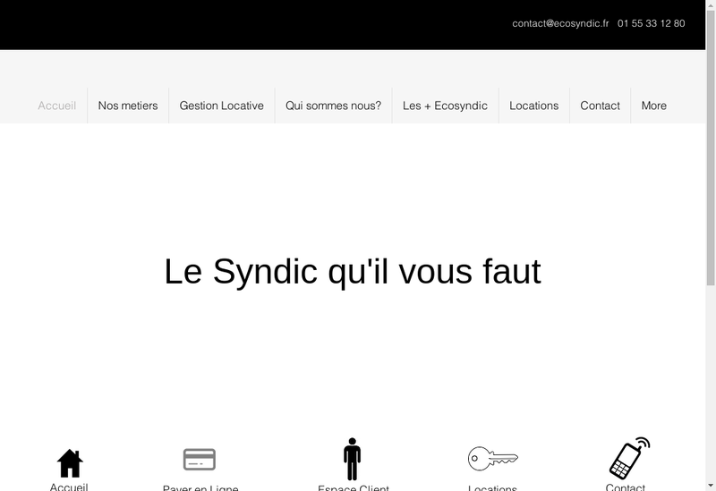 Capture d'écran du site de Ecosyndic