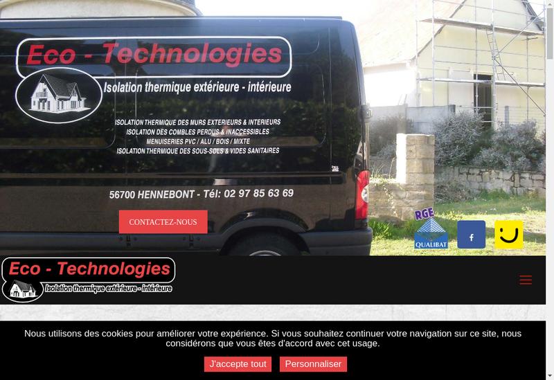 Capture d'écran du site de Eco Technologies