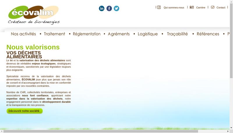Capture d'écran du site de Ecovalim