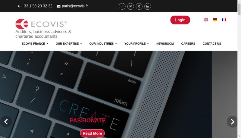 Capture d'écran du site de Ecovis France