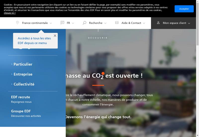 Capture d'écran du site de Electricite de France