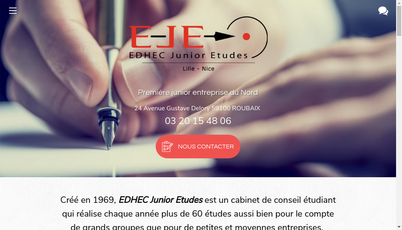 Capture d'écran du site de EDHEC Junior Etudes