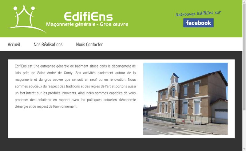 Capture d'écran du site de Edifiens