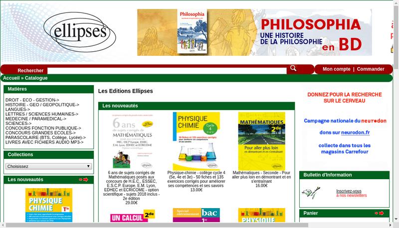 Capture d'écran du site de Ellipses