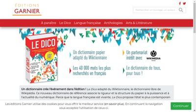 Site internet de Editions Garnier